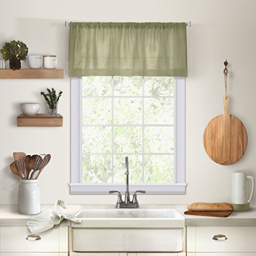 "Elrene Home Fashions Cameron Solid Hemstitched Rod Pocket Kitchen/Cafe Window Valance, 60"" W x 15"" L (1, Sage Green"