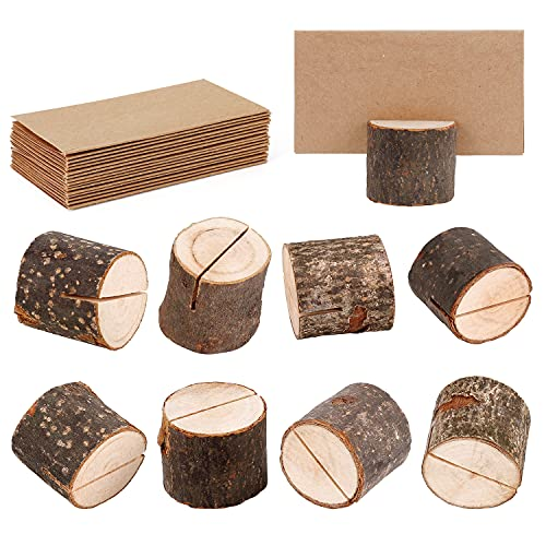 Wanapure 15 Pack Rustic Wood Table Number Holders with 30Pcs Kraft Paper, Photo Picture Table Place Card Holder, Tabletop Cardholder Menu Reserved Card Stand for Wedding, Party, Restaurants, Banquets