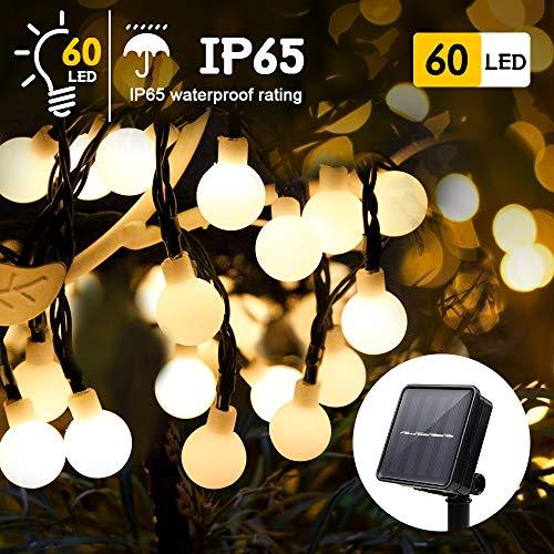 LED Solar Lichterkette Außen| infinitoo 8M (26.24ft)60er Solar Beleuchtung Lichterketten IP65 Wasserdicht Warmweiß, 8 Modi, Fest Deko für Garten Innen Terrasse, Party