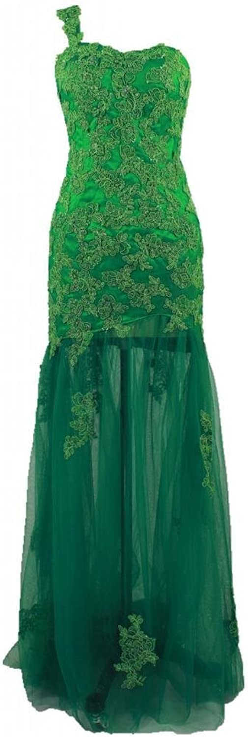 Charmingbridal Sheath One Shoulder Green Applique Prom Dress Evening Party Gown
