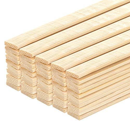 Aoibrloy 100 Pieces Natural Bamboo Sticks Wood Extra Long Sticks for Crafting (15.7 Inches Length × 3/8 Inches Width)