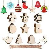 Trsnzul Decoracion Arbol Navidad Madera 100 Piezas Adornos Navideños Madera Ornamentos de Navidad Colgantes de Madera de Navidad Decoraciones Navideñas para Árbol para Navidad y Fiesta Decoración