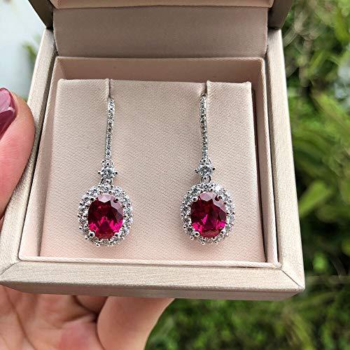 GBKIGCD Pendientes de gota de gemstone de rubí de lujo para mujeres Vintage Femenino 925 plata de ley joyería pendiente moda simple (Gem Color: Red)