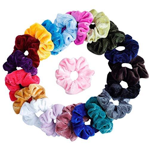 Lot de 20 Chouchous Bandeaux bandes velours cheveux élastique bandes de cheveux filles pour femmes ou accessoires pour les cheveux des filles (20pc)