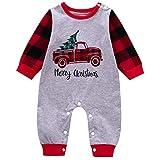 Toddmomy Weihnachten Baby Strampler Overall Outfit Weihnachten LKW Neugeborenen Frühling Herbst Nachtanzüge Nachtwäsche Baumwolle Pyjama für Baby Kleinkind 80Cm