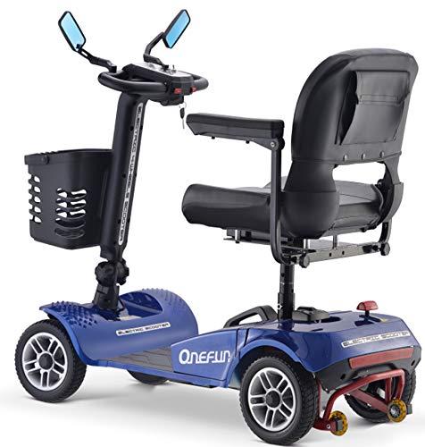 Elektromobil E-Mobil Seniorenfahrzeug Seniorenmobil Scooter Elektroscooter 4-Rad 250W 6-8km/h 150Kg 28km Sitz drehbar Rückfahrton LED Beleuchtung blau SMB1250