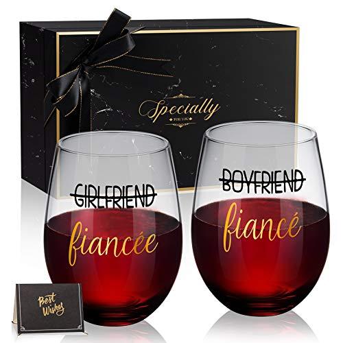 Boyfriend and Girlfriend 18 oz Stemless Wine Glass Set of 2,...