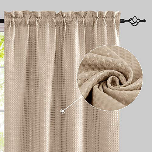 jinchan Waffle Weave Curtains for Living Room 84 inches Long Privacy Curtains Rod Pocket Window Treatment Set for Bedroom 2 Panels Taupe