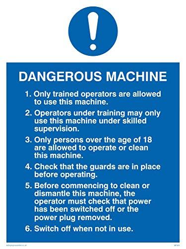 Preisvergleich Produktbild Viking Schilder mp305-a3p-1 m Gefährliche Maschine Sicherheitshinweis Zeichen,  1 mm halbstarr Kunststoff,  400 mm H x 300 mm W