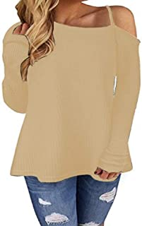 Domple Women One-Shoulder Long Sleeve Tops Autumn Strappy T Shirts