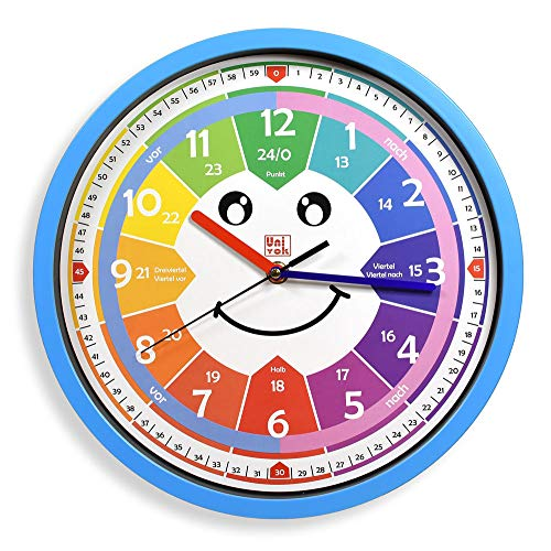 Univok Kinderwanduhr Wanduhr ohne Tickgeräusche Kinder Uhr Lernen (Blau)