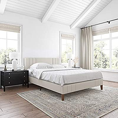 Classic Brands Chicago Modern Tufted Upholstered Platform Bed | Headboard and Wood Frame with Wood Slat Support, Full, Peyton Shell