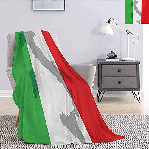 L.R.D Italienische Flagge Bettwäsche Fleecedecke Kartenansicht von Italien Landkarte Nationales Land Europa Alte Kultur Superweiche Kuscheldecke 60