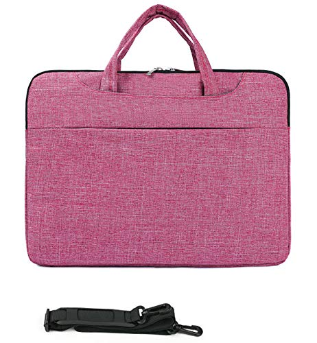 MUBUY 15 15.6 16 Inch Fashion Laptop Sleeve Case Bag with Shouler Straps for HP Envy 15/Pavilon 15 |Lenovo Ideapad/Yoga 15 |Dell Insprion 15 |Acer Aspire 5 15.6'/Chomebook 15 |MacBook Pro 16 -Rose Red