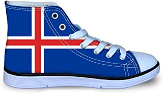 Owaheson Boys Girls Casual Lace-up Sneakers Running Shoes Lebanon Flag