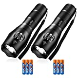 outlite 2 pack S1000 Flashlight (AAA Battery Included), LED flashlights High Lumens with 5 Modes, Zoomable...