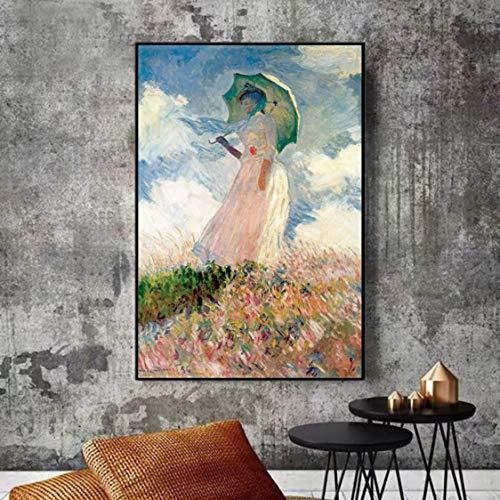Danjiao Mujer Con Sombrilla Pared Arte Lienzo Pinturas Reproducciones Impresionista Famoso Lienzo Arte Impresiones Decoración Del Hogar Sala De Estar Decor 40x60cm