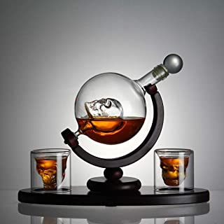 Squelette Globe Decanter Set, en Forme de Crâne Carafe de Vodka Carafe à Whisky Globe Une carafe whisky, un socle en bois ...