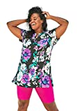 Swimsuits For All Women's Plus Size Longer Length Short-Sleeve Swim Tunic - 24, Pink Graphic Peony