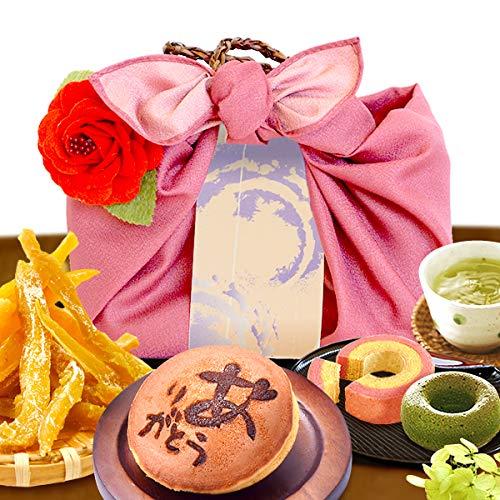誕生日 プレゼント お祝い 内祝い プチギフト お菓子 スイーツ (編み籠入り風呂敷包)ピンク風呂敷