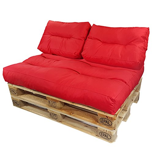 DILUMA Coussins pour Canape Euro Palette Lounge - Créez Un élégant Sofa en Palette résistante aux éclaboussures (Pas Un Ensemble!), Couleur:Rouge, Variable:2 Coussins de Dossier 60 x 40 cm