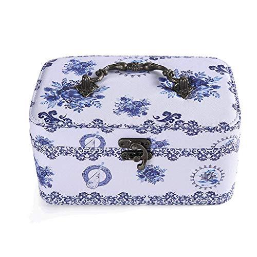 Caja de joyería 19.5 * 12.5 * 9.5 CM Caja de Almacenamiento de joyería portátil de Doble Capa de Doble Capacidad Put Pendientes Caja DE COLLA DE Anillos (Color: H) leilims (Color : B)