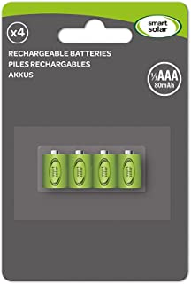Smart Solar Rechargeable Batteries 1/3 AAA 80mAh- Pack of 4