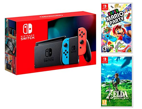 Nintendo Switch Rouge/Bleu Néon 32Go Pack [Nouveau modèle] Super Mario Party + Zelda: Breath of The Wild