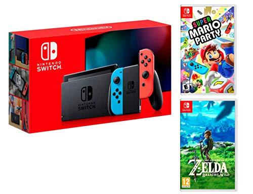 Nintendo Switch Rouge/Bleu Néon 32Go Pack [Nouveau modèle] Super Mario Party + Zelda: Breath of The Wild
