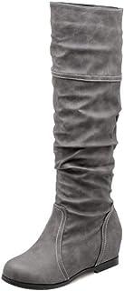 VulusValas Women Pull On Slouch Boots Wedge Heel