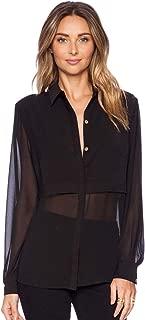 Women's Chiffon Long Sleeve Button Down Casual Shirt Blouse Top