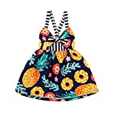 Toddler Baby Girls Summer Dress Floral Pineapple Print Sleeveless Backless Strap Party Sundress (Pineapple, 3-4 T)