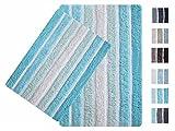 2-Piece Cotton Alpine Stripe Bath Rug Set - 100% Cotton...