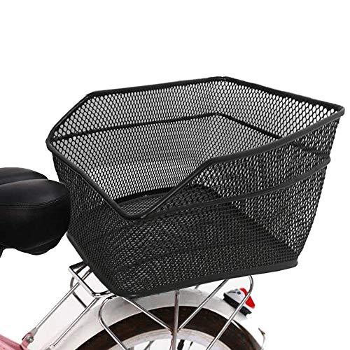 Lixada Rear Bike Basket Large Capacity Rear Bicycle Cargo Rack Mount Metal Wire Bike Storage Basket with Waterproof Rainproof Cover Black…