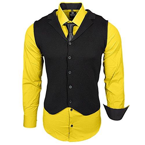 Business Herren Hemd Weste Krawatte Set Anzug Smoking Sakko Herrenanzug Slim fit Hemden Freizeit Hochzeit Hemden B-40-444, Größe:S, Farbe:Gelb
