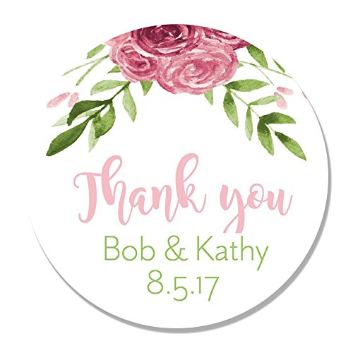 40 Personalized Flower Thank You Party Favor Label Stickers - Round Party Stickers for Wedding, Anniversary, Birthday, Baby Shower
