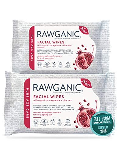 RAWGANIC Lingettes démaquillantes hydratantes bio anti-âge, en coton biologique biodégradable, à la grenade et l'Aloe Vera, sans parfum (Lot de 2 paquets de 25 soit 50 lingettes)