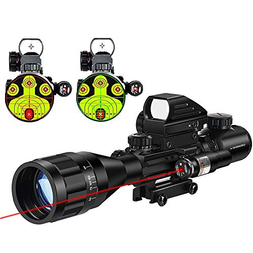 MidTen 4-16x50 Tactical Rifle Scope Dual Illuminated Optics & Rangefinder Illuminated Reflex Sight 4 Holographic Reticle Red/Green Dot Sight & IIIA/2MW Laser Sight(Red)
