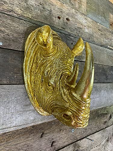 Wall Mounted Silver Stag Head Deer Large Antlers Reindeer Elephant Lion Tiger Rhino Wolf Wall Art Hanging Sculpture (Rhino Gold)