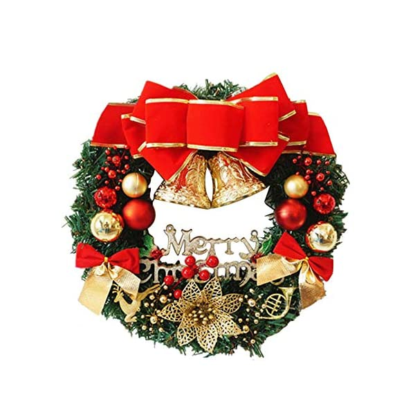 MAMaiuh 12 Inch Pine Pin Christmas Wreath with Bowknot, Handmade Wall Hanging Welcome Garland Pendant Christmas Tree Ornaments for Front Door Decor Winter Home Decorations
