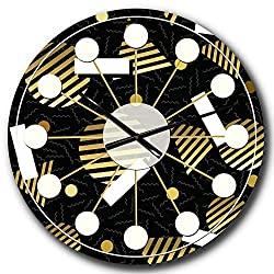 Designart Gold Retro Circular Pattern Wall Art Design Mid-Century Modern Circle Wall Decorative Clock - Home Decorations for Home, Living Room, Bedroom, Office Decoration Round Metal Wall Clock