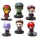 Avengers Cake, BESTZY 6 Piezas de Estatuilla de Superhéroe Vengadores,Decoración de Tartas, Suministros para Fiestas de Cumpleaños, Figuras para Cupcakes