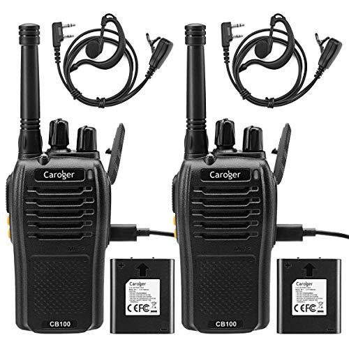 Caroger Recargable Walkie Talkie Business Dos VíAs de Radio PMR 446 MHz 16 Canales De Largo Alcance Negro (2 Paquetes)