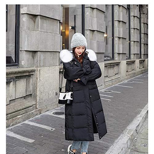 WANGCY Chaqueta De Plumas Mujer Invierno Larga con Capucha Suelta Cuello De Piel Trenzada Real Hermosa Y Hermosa para El Clima Frío En Invierno