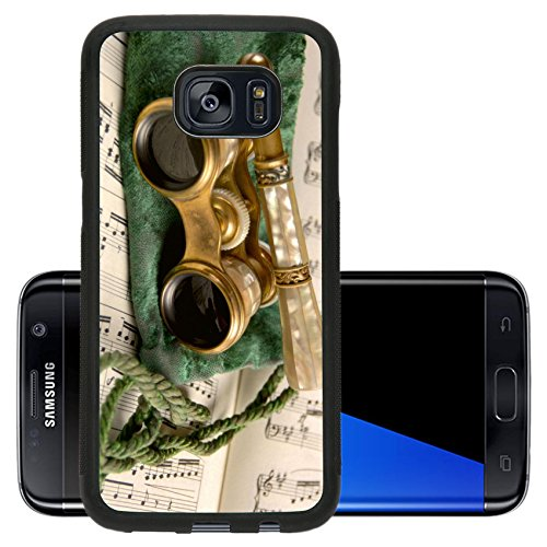 Liili Premium Samsung Galaxy S7 Edge Aluminum Backplate Bumper Snap Case Antique opera glasses rest on a tattered velvet pouch and sheet music Shallow Photo 481828