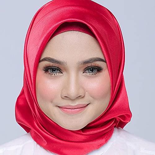 Bufanda de Seda a la Moda para Mujer, Hijab instantánea, Bufanda para Mujer, Chal, pañuelo de satén Cuadrado, pañuelo sólido para Regalos