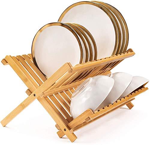 Estante plegable para secar platos, cocina de bambú, 2 niveles, escurreplatos plegable para encimera de cocina