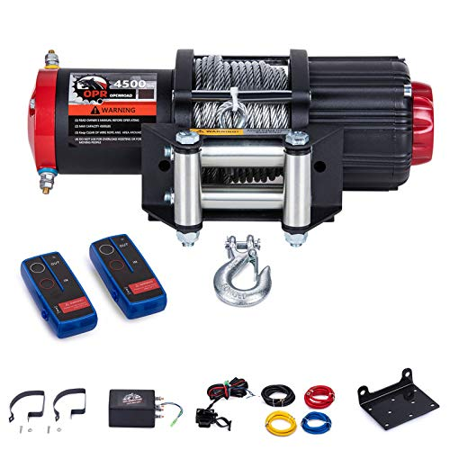 OPENROAD 4500Lbs 12 Volts Electric Winch, Winch for ATV/UTV/Boat, 4500Lbs /2041kg Electric Winch Kit, with 15m/49ft Winch Cable, Towing Off-Road Electric Winch Recovery kit (4500Lbs Black)