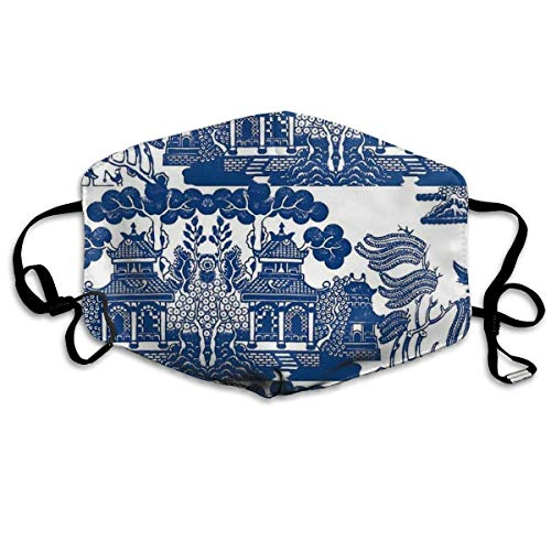 Comfortable Adjustable Blue Gazebo Landscape Painting Printed Facial Decorations For Women And Men