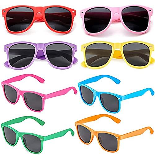 8 Piezas Coloridas gafas de fiesta, Gafas de Fiesta Coloridas, Party Gafas de Sol a Granel, Colores Retro Gafas de Sol Fiesta, para Carnaval, Fiestas Navideñas, Hawái, Viajes al Aire Libre (8 Colores)